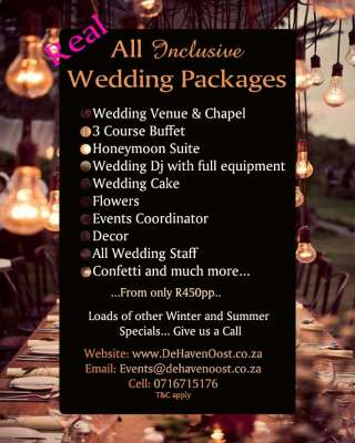 De Haven Oost - Wedding Packages 2015 - Rayton