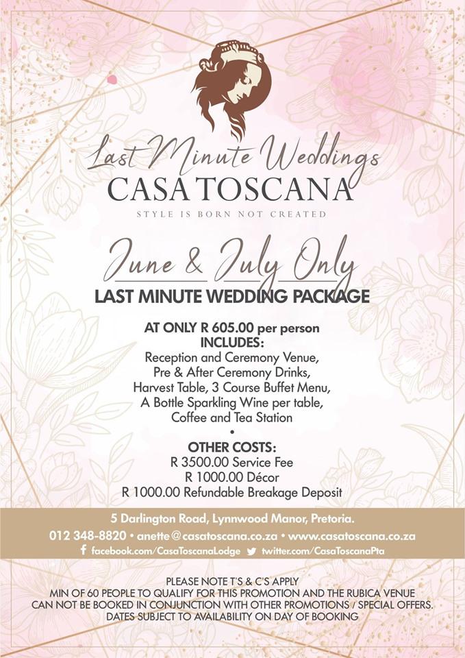 Last Minute Wedding Promotion